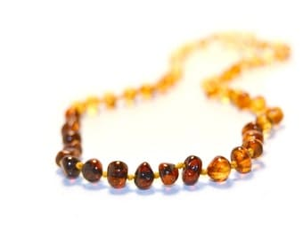 Polished Baltic Amber Teething Necklace with Screw Clasp - Baroque Rainbow