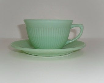 Vintage Fire King Jadeite Jane Ray Cup and Saucer Set, (Two Sets Available)