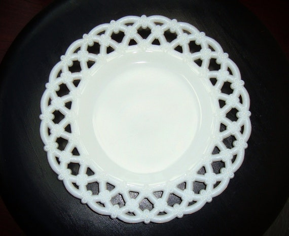 Vintage White Milk Glass Luncheon Plate with Forget Me Not
