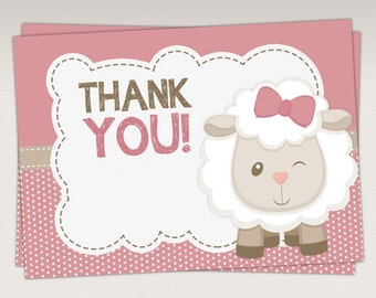 Cute Little Lamb Baby Shower Thank You Card - Thank you Favor tags - Note Card