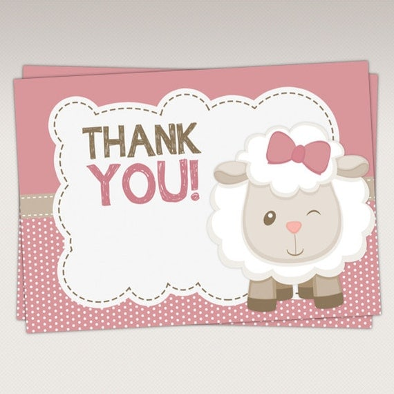 Cute Little Lamb Baby Shower Thank You Card Thank You Favor