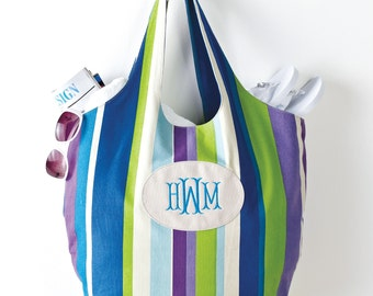 Striped Canvas Tote Bag (c118-1172) - Free Personalization