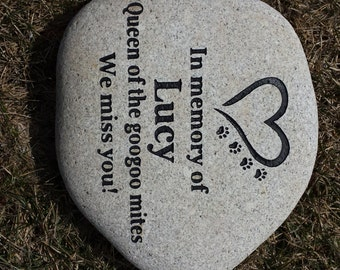 Custom Engraved Pet Memorial Stone, Engraved Pet Memorial Rock,personalized pet memorial stone, Pet Memorial Garden Stone, Dog, Cat, Bunny