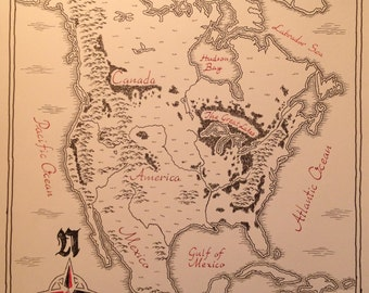 Illustrated Map of North America   Hand-Drawn