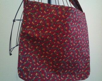 Maroon Flower Messenger Bag
