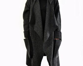 Gray wool coat/Woman oversize jacket/Wool maxi coat/Handmade coat/Wool hooded jacket/Long coat/ wool hooded casual coat/A1352