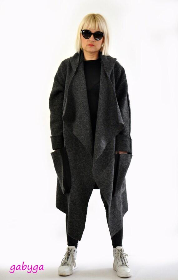 Gray wool coat/Woman oversize jacket/Wool maxi coat/Handmade