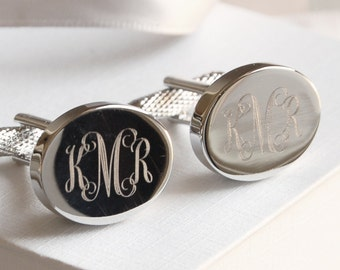 Personalised Monogram Cufflinks (Oval) ~ Engraved Wedding, Anniversary, Birthday, Father's Day, Gift