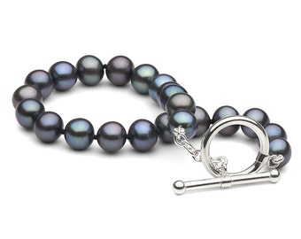 Black Freshwater Pearl Bracelet, 6.0 to 7.0mm, AA+ Quality, Sterling Silver Toggle Clasp