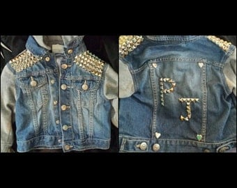 Customizable studded denim jacket 4-6m