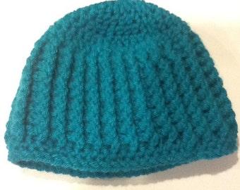 Teal Crochet Baby Cap