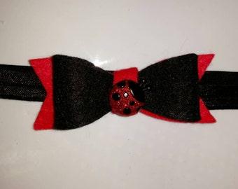 Ladybug Headband, Black and Red Headband, Red and Black Headband, Girls ladybug headband, Infant Ladybug Headband, Black and Red Bow
