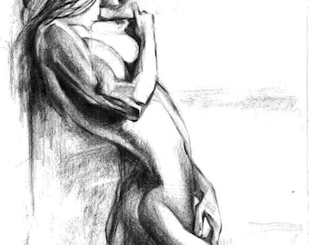 Pencil drawing Female woman naked