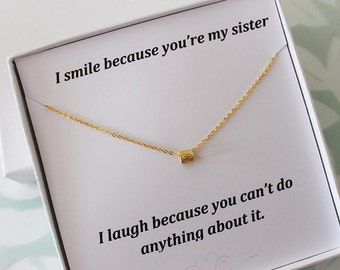 Sister Necklace, Sister Jewelry, Gold tone pendant, Necklace for Sister