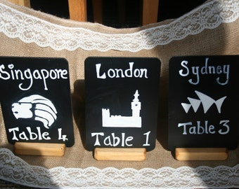 Set of 3 Table settings with a personal theme, examples shown, names of the cities,flowers, favorite drink, theme or your own design.