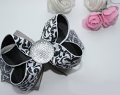 Girl toddler Hair bow ready to ship grey black hair clip headband lace hair bow hair accessories clips and barrettes