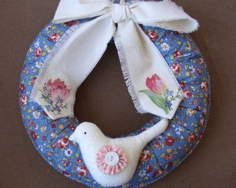 Spring Easter wreath with a bird