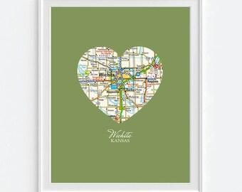 Wichita Kansas Heart Vintage Map ART PRINT City map Wichita Kansas art, state map gift, wedding gift, Christmas gift for her