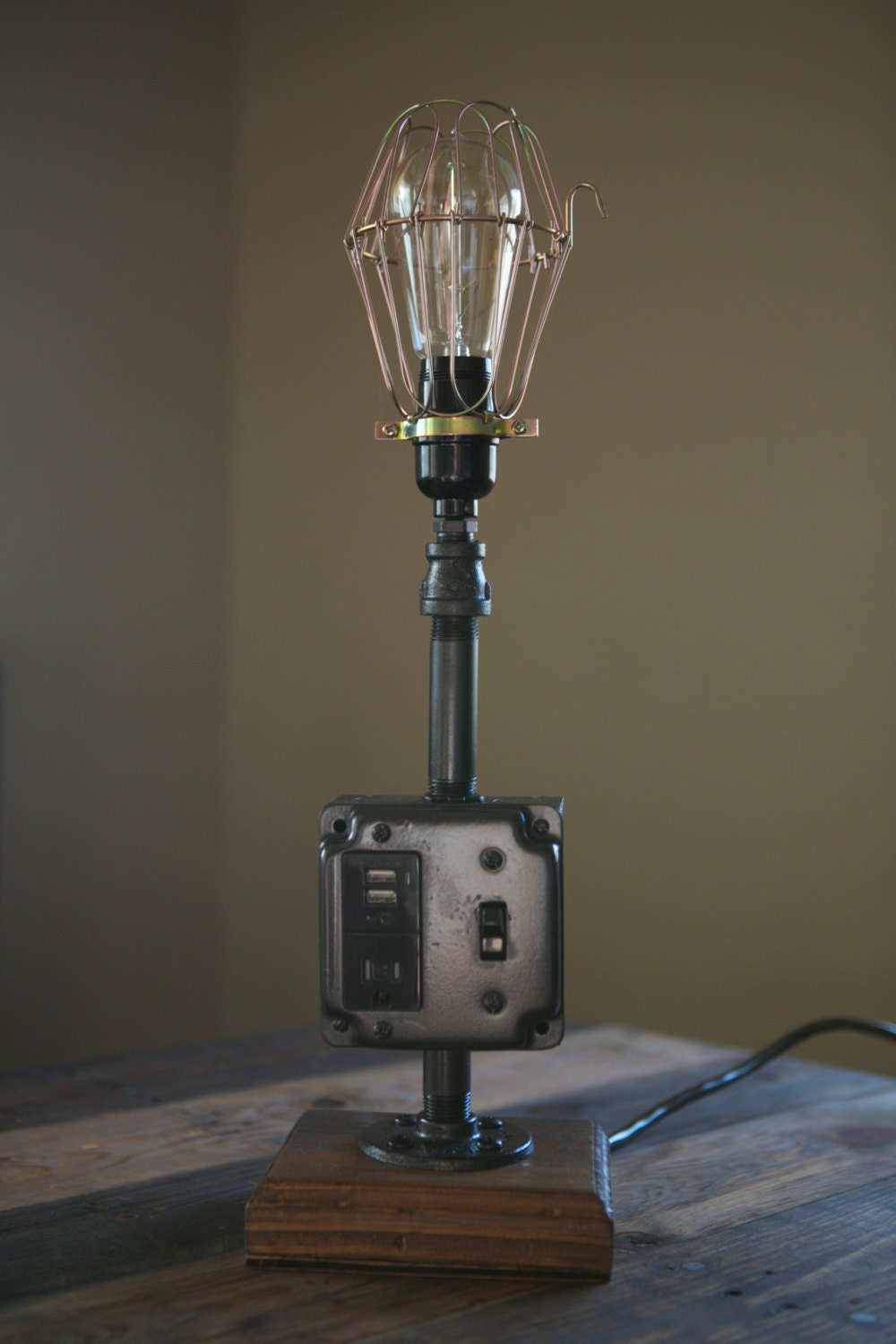 industrial lamp with usb outlets by simplystevens on etsy. Black Bedroom Furniture Sets. Home Design Ideas