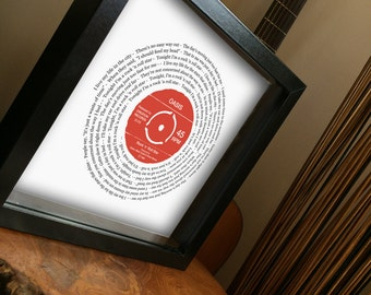 Any favourite song lyrics Vinyl Record look framed print PERSONALISED LABEL - wedding first dance your song anniversary romantic valentine's