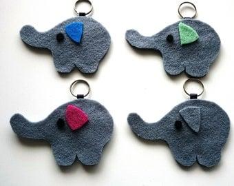 Elephant Keyring, Keychain available with multi coloured ears / Bag Charm, Felt