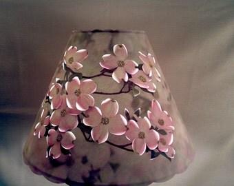New custom handmade Pink Dogwood lampshade 5x12x8.5 100% recycled material