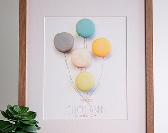 Custom Macaron Balloons Print - Nursery Art - Wedding Print - Add Your Names/Date of Your Choice