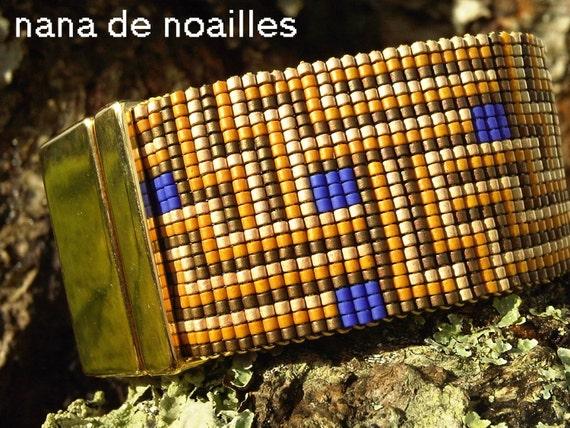 Bracelet Manchette  Perles de rocailles Miyuki Tissées / collection Cognac-Jay/Modèle A vous les studios!