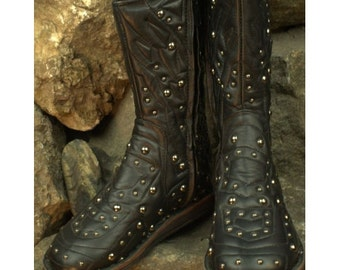 Crystal Leather Black Boots made - Flower of Life by Pleiadian