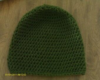 Handmade crochet olive green beanie