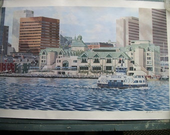 Lithograph Prints Signed, Numbered  of the Dartmouth II Ferry, Al Chaddock of Nova Scotia, Canada