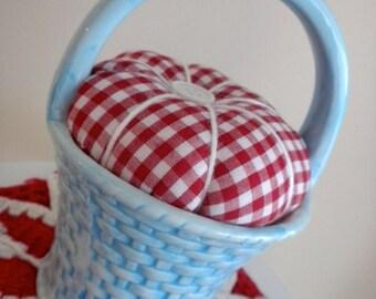 Aqua China Basket Upcycled Pincushion