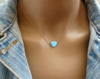 Opal Heart necklace, Heart necklace, Valentines day gift, Blue heart opal necklace, Delicate necklace, Opal jewelry, Simple necklace