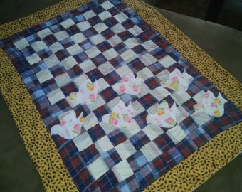 Flannel Baby Quilt, made from up-cycled materials