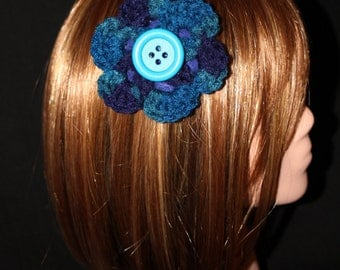 Blue and Teal Flower Hair Clip