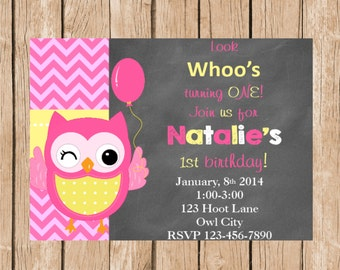 Pink and Yellow Cute Owl Invitation and Thank You Card