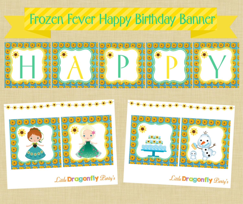 Frozen Birthday Banner Printable Frozen Banner Party By: Frozen Fever Happy Birthday Banner Instant Download