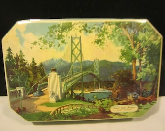 Ships FREE!! Vintage 1950's Gray Dunn Biscuit Tin, Has A Picture Of The Lion's Gate Bridge, Ships FREE To USA