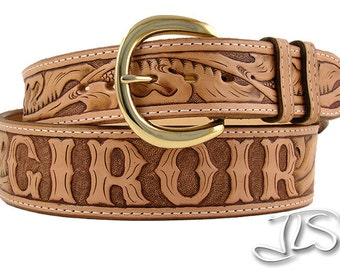 Custom Tooled Leather Name Belt, Hand Carved Western Floral