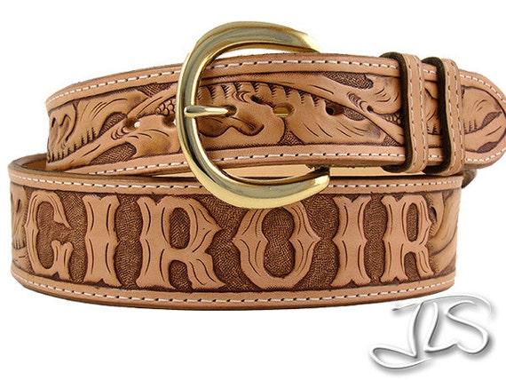 custom tooled leather name belt carved western floral