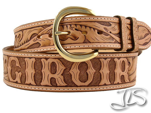 custom tooled leather name belt carved western by