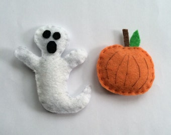Handmade Felt Halloween Pumpkin and Ghost Catnip Cat Toy