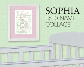 Instant Download - 8x10 - Sophia Name Collage Image - Pink & Green - JPG File + PDF