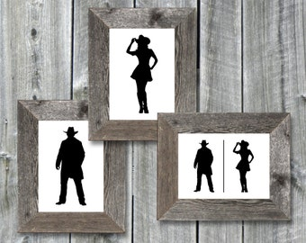 Instant Download - 5x7 Printable Bathroom Door Signs - Cowboy & Cowgirl - Graphic Files - 1 PDF + 3 Individual JPGs