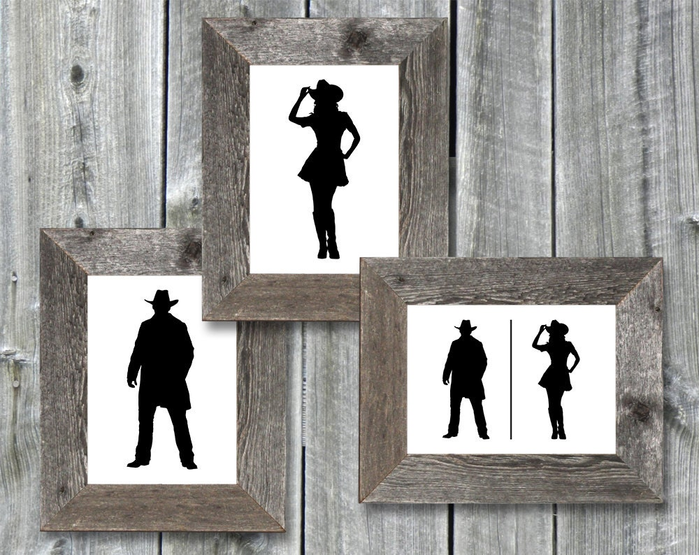 Printable bathroom sign - Instant Download 5x7 Printable Bathroom Door Signs Cowboy Cowgirl Graphic Files 1 Pdf 3 Individual Jpgs