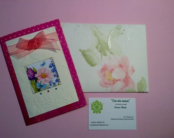 With organza Ribbon flower card