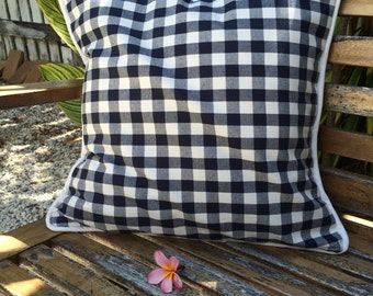 Soft Cotton, Blue and White Check Cushion Cover