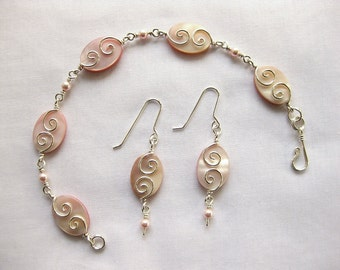Pink Shell, Swarovski Pearls & Sterling Bracelet and Matching Earrings \ Silver Seas Collection by The Celtic Elf