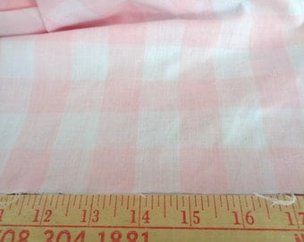 2 1/4 yards light pink and white checked cotton