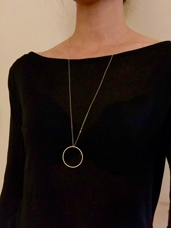 Sale Statement Necklace Circle Pendant Necklace Long